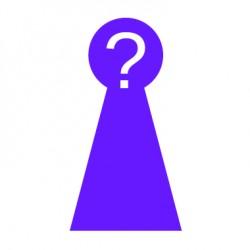 stilisierte lila Figur mit weißem Fragezeichem im Kopf