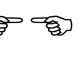zwei Haende, die mit den Fingern aufeinander zeigen