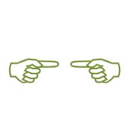 Zwei Hände, die mit Zeigefinger auf sich zeigen